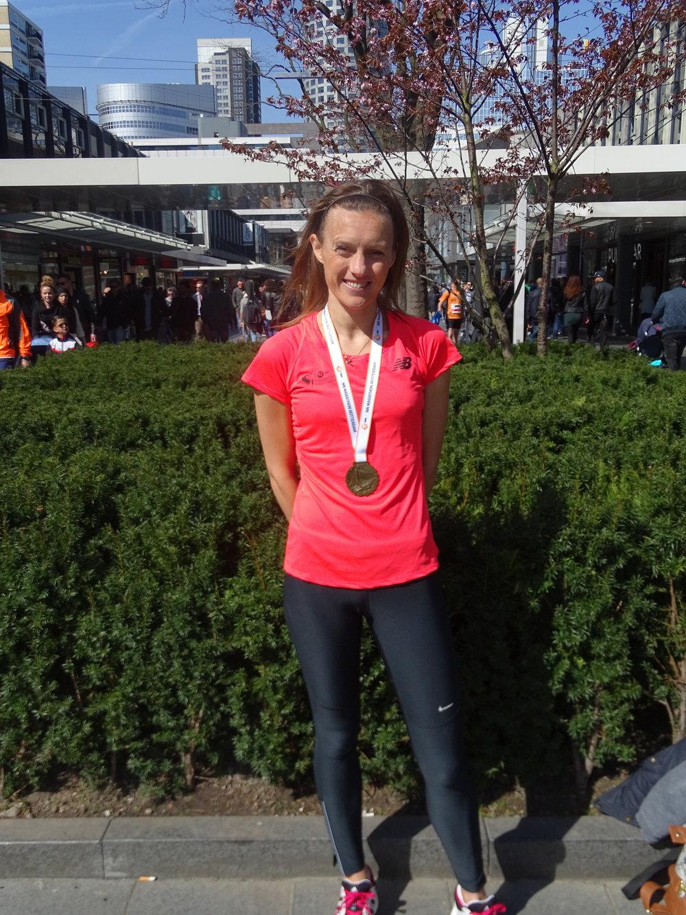 Vicky still smiling after the Rotterdam Marathon