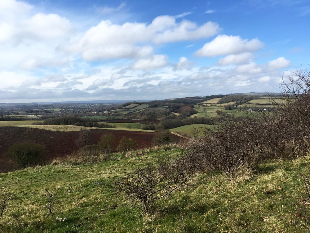 Just one of the wonderful views you'll see as we circumnavigate the city of Bristol and former county of Avon. This is taken from just past the town of Keynsham, looking out over the Chew Valley.