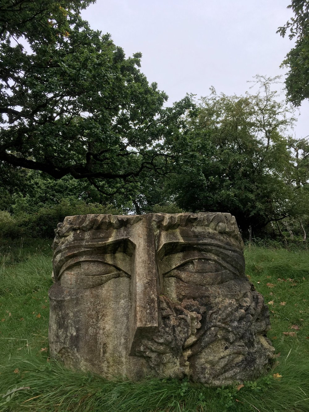 The famous Green Man sculpture that looks over Ashton Court and out over Bristol.