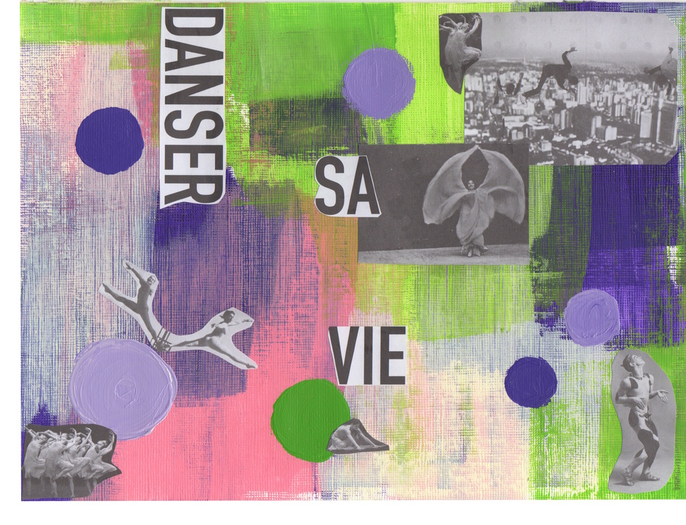 Danser sa vie.  Mixed Media collage (paper and acrylic on paint board), 2014