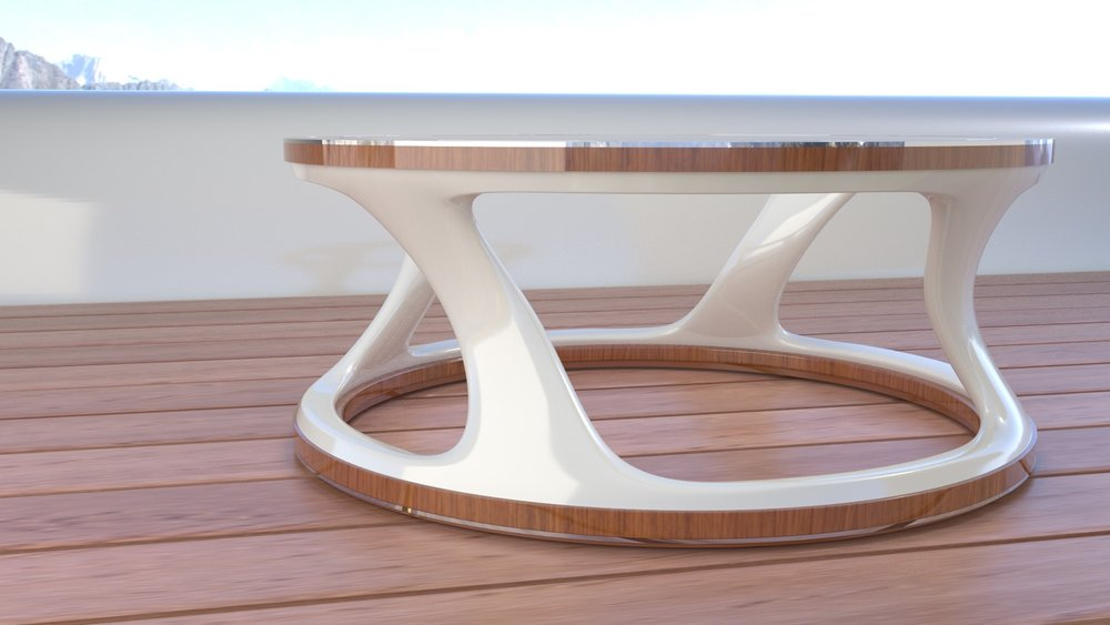 MAW Vortex side table. Teak, white lacquer, Stainless Steel and glass.