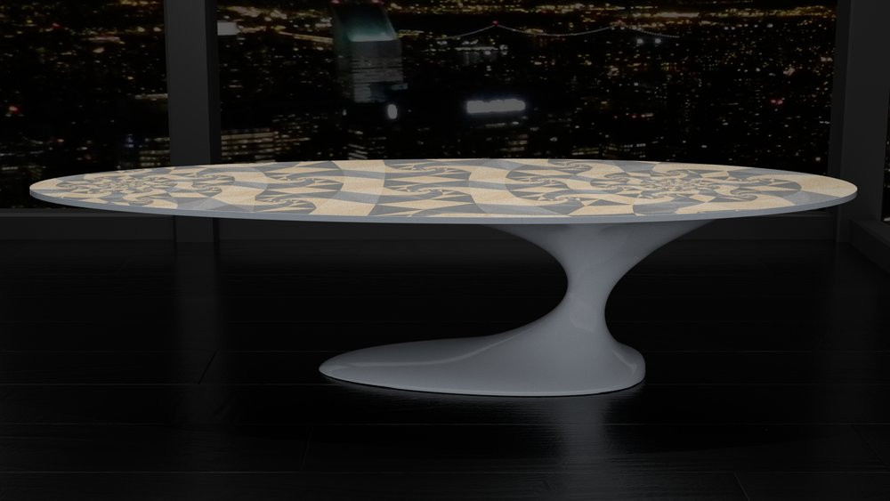 MAW Monoped dining or low table. Double fractal marquetry top. Grey lacquer gloss.