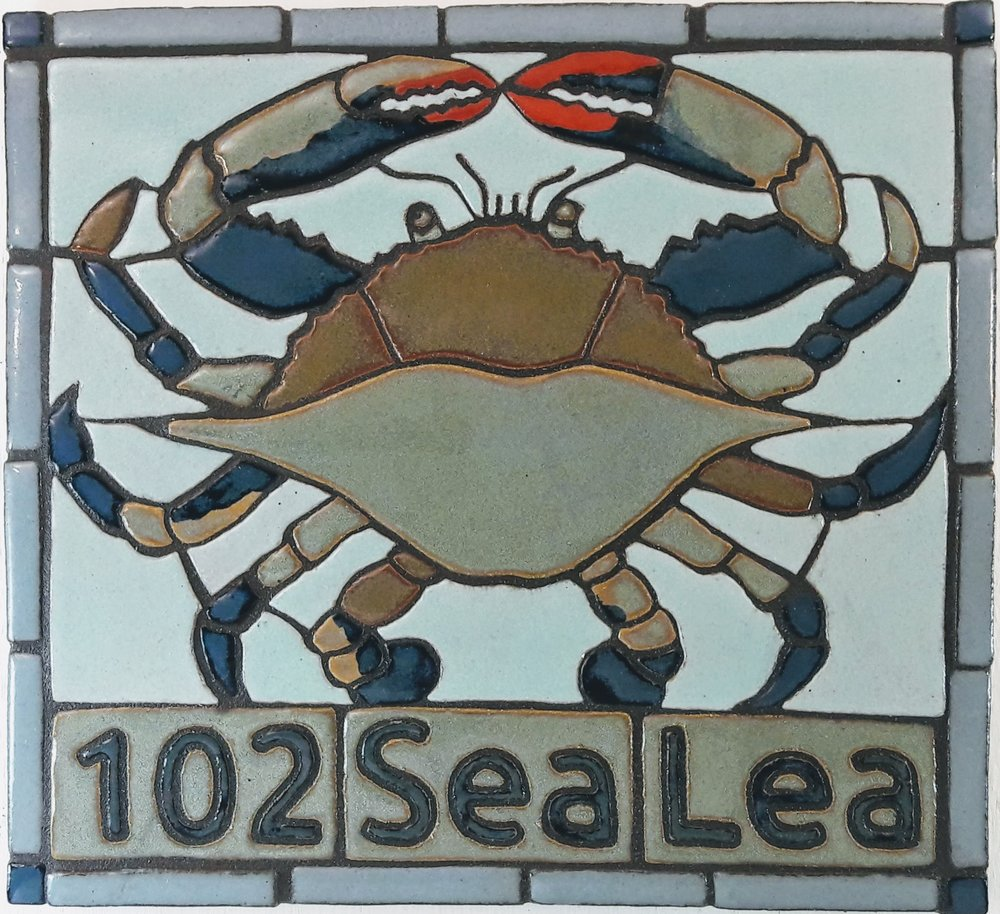 Blue Crab Address Plaque