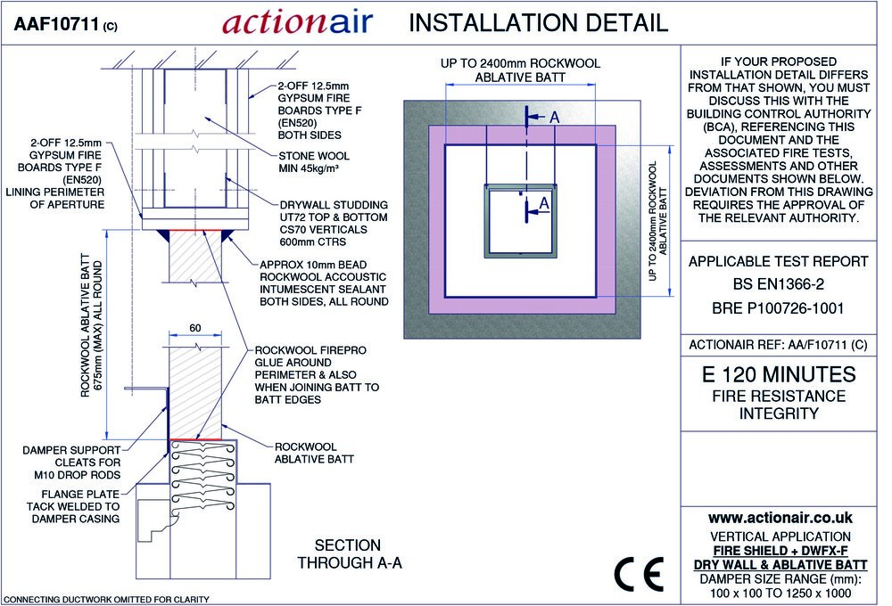 Actionair Fire And Smoke Damper Installation Manual