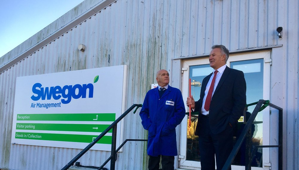Kevin Munson and Tony Munt celebrate the change of company name at our site in Whitstable, Kent.