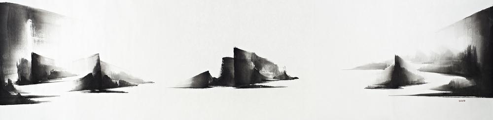 Everlasting Sanctuary,148x560cm,Ink on Paper,2014  永恆的聖殿, 148x560cm, 水墨紙本,2014