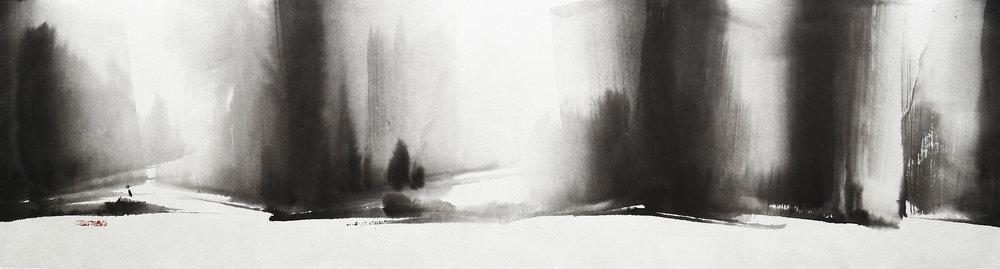 7.Everlasting Sanctuary, 39x137cm, ink on paper, 2014 (75x209cm,2016).jpg
