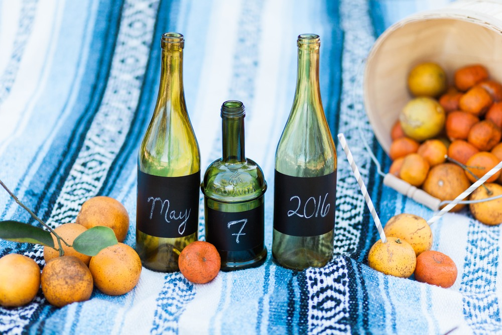 Chalkboard Wine Bottles in Orange Grove Engagement Session in Orlando Florida | Michelle Mock Photography
