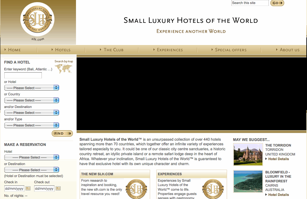 Small Luxury Hotels Website
