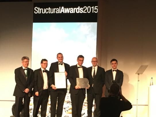 Flanagan Lawrence collect Institute of Strucutal Engineers Small Project Award for Acoustic Shells on Friday 13th November