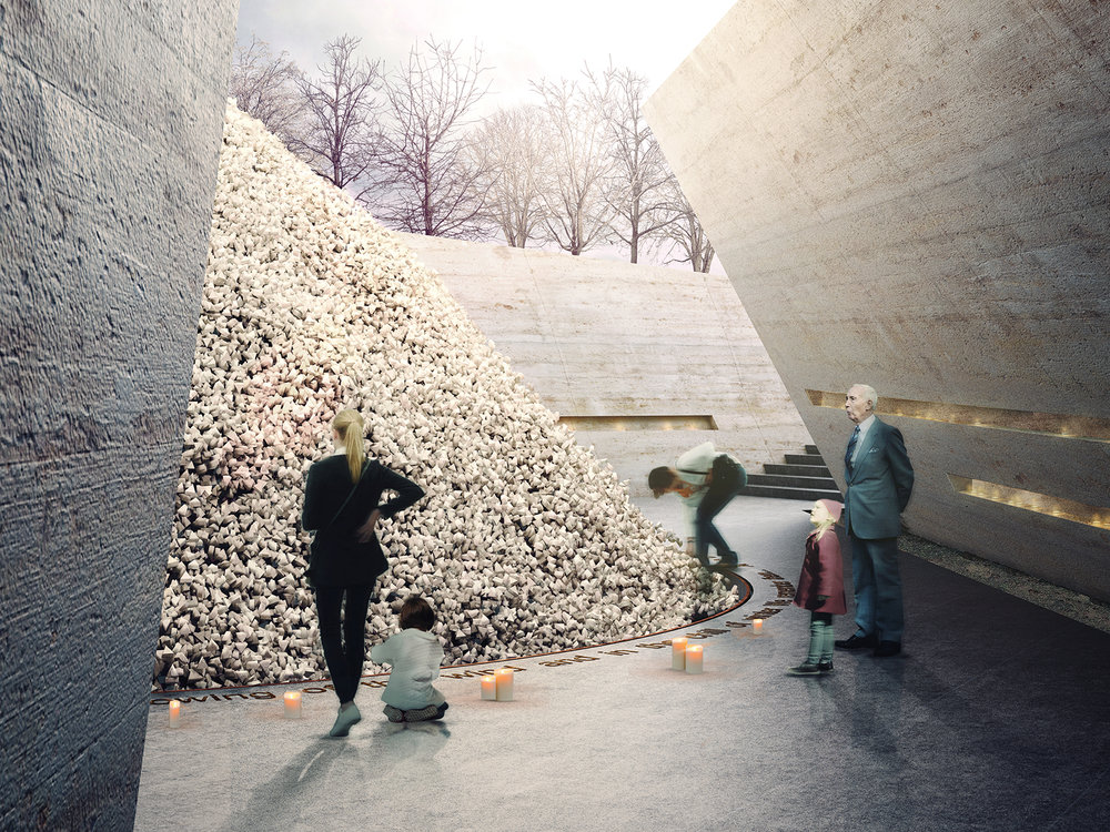 CGI of proposed  National Holocaust Memorial© John McAslan + Partners + MASS Design Group
