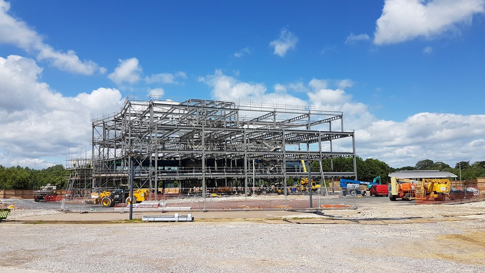 Steel frame almost complete at Bogle Architects\' Oxford Science Park ...