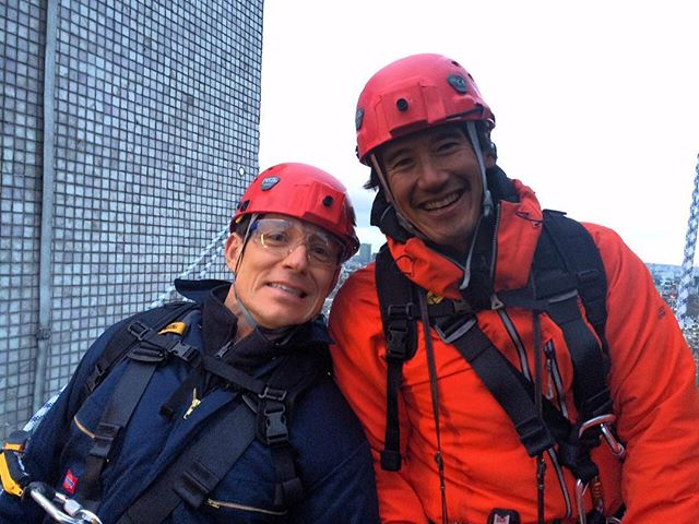 Jimmy and Ben just before the abseil interview down the @itv Towers on @goodmorningbritain...