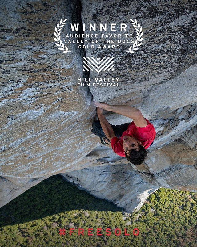 "@mochinyc on filming Free Solo: ""At a certain point, it just became beautiful. It was so clear to all of us—with how well we knew [Alex]—that he was having the most wonderful day in his life. But also on the film side, our team had worked so hard training for that day...they had seamless, perfect execution. There was a real pride ultimately."" We are honored and humbled to have received another award—the Gold Award for Audience Favorite in Valley of the Docs at the Mill Valley Film Festival! #FreeSoloFilm"