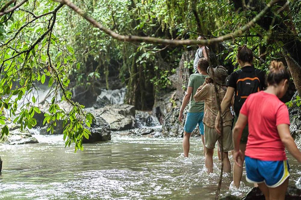 Wading through waterfalls in Khao Sok national park
