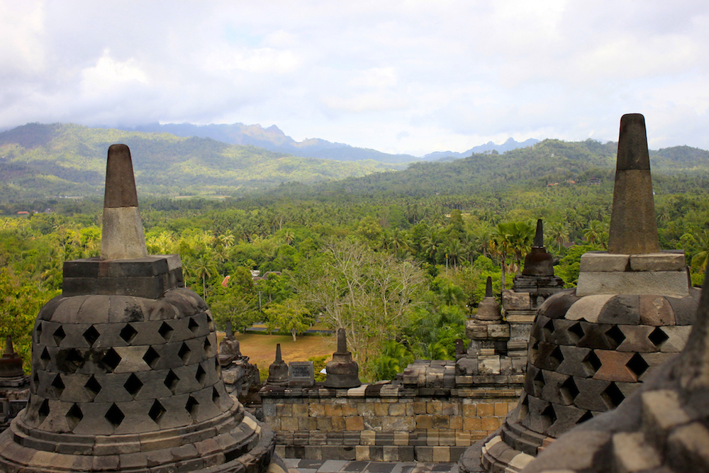 View from Borobudur temple, Java.