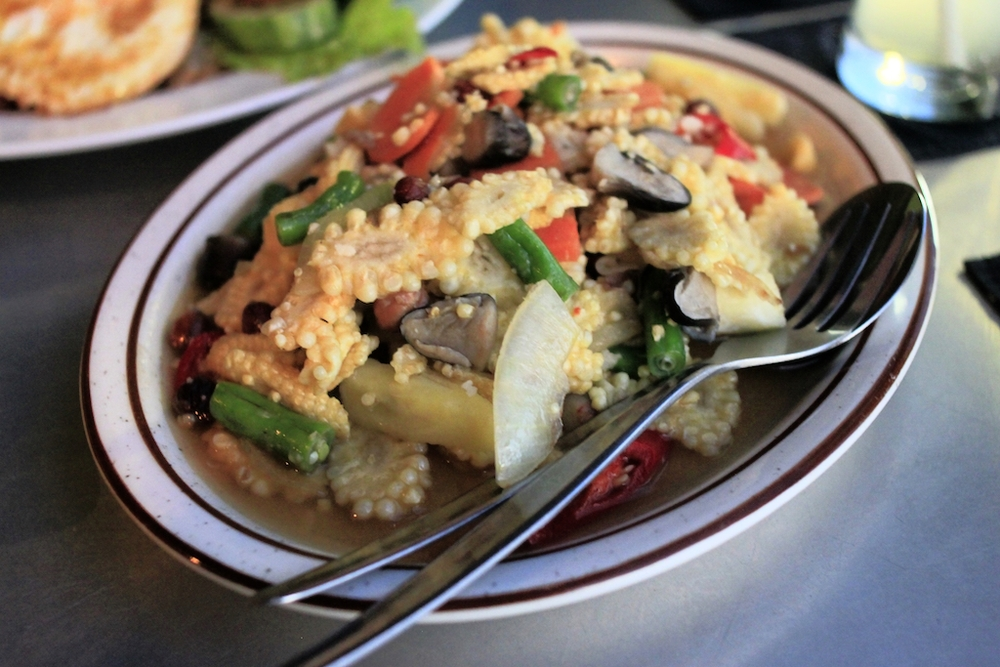 Stir-fried vegetables with pineapple in Yogyakarta, Java.