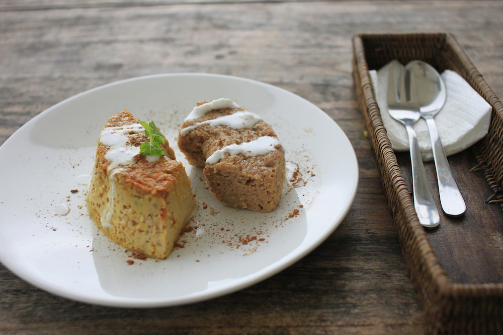Steamed turmeric pudding; banana cinnamon cake; coconut cream.