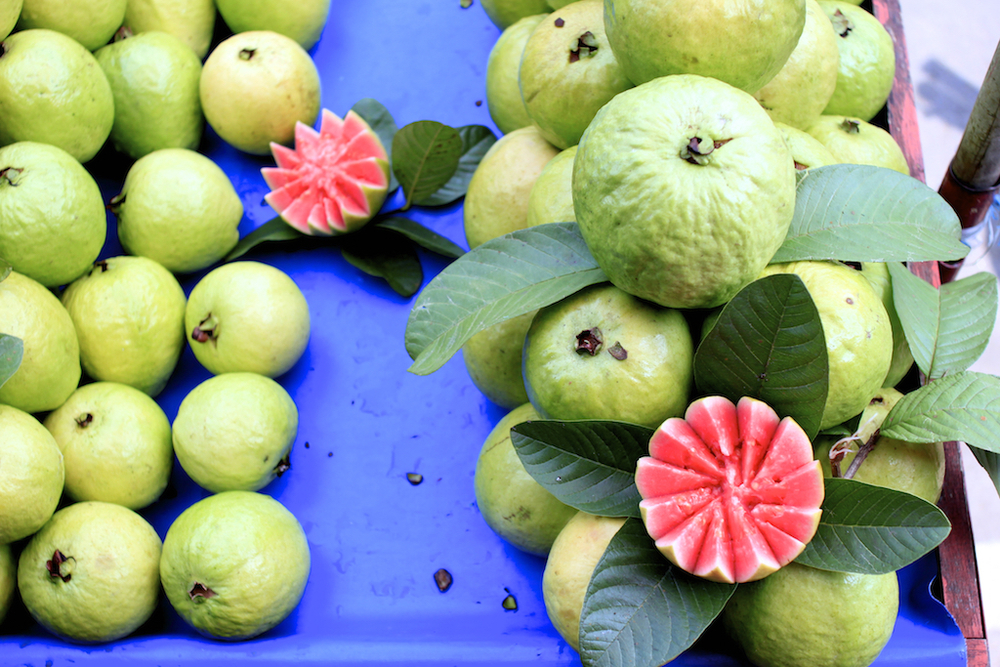 Guava for sale in a market in Cianjur, Java.