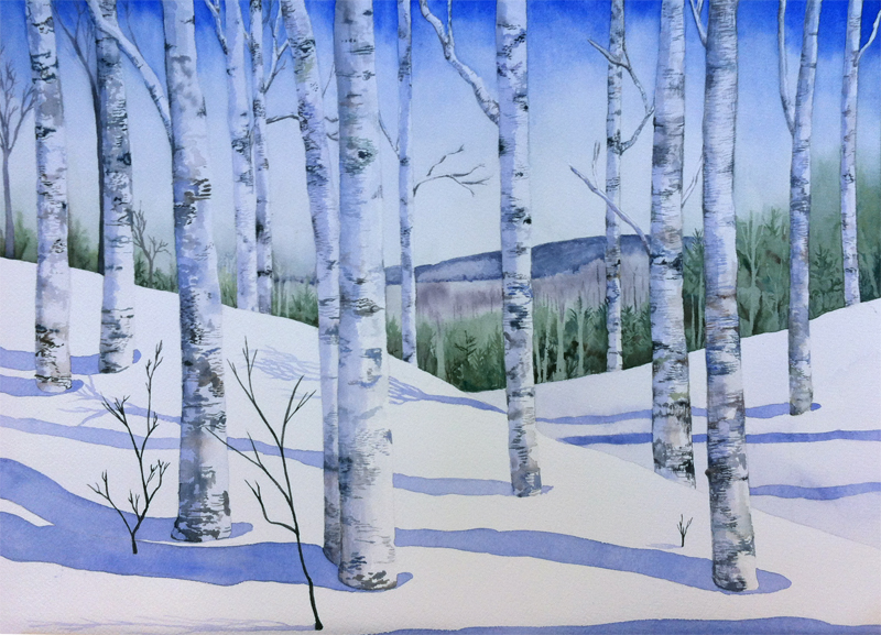 Birch Forest, watercolor on paper, 2015