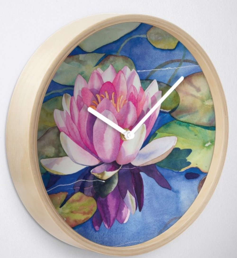 Pink Water Lily Wall Clock