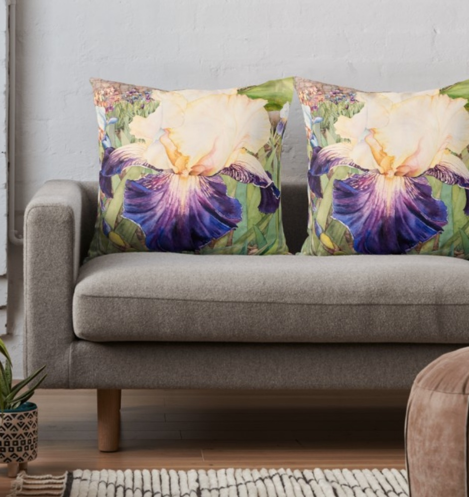 New! Iris Garden - This design is available in men's, women's and kids' apparel, home decor and gift items.