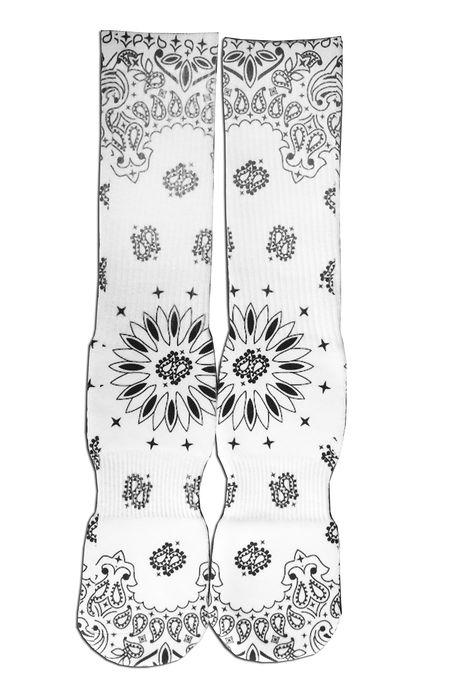 ROIAL White Bandana Print Socks