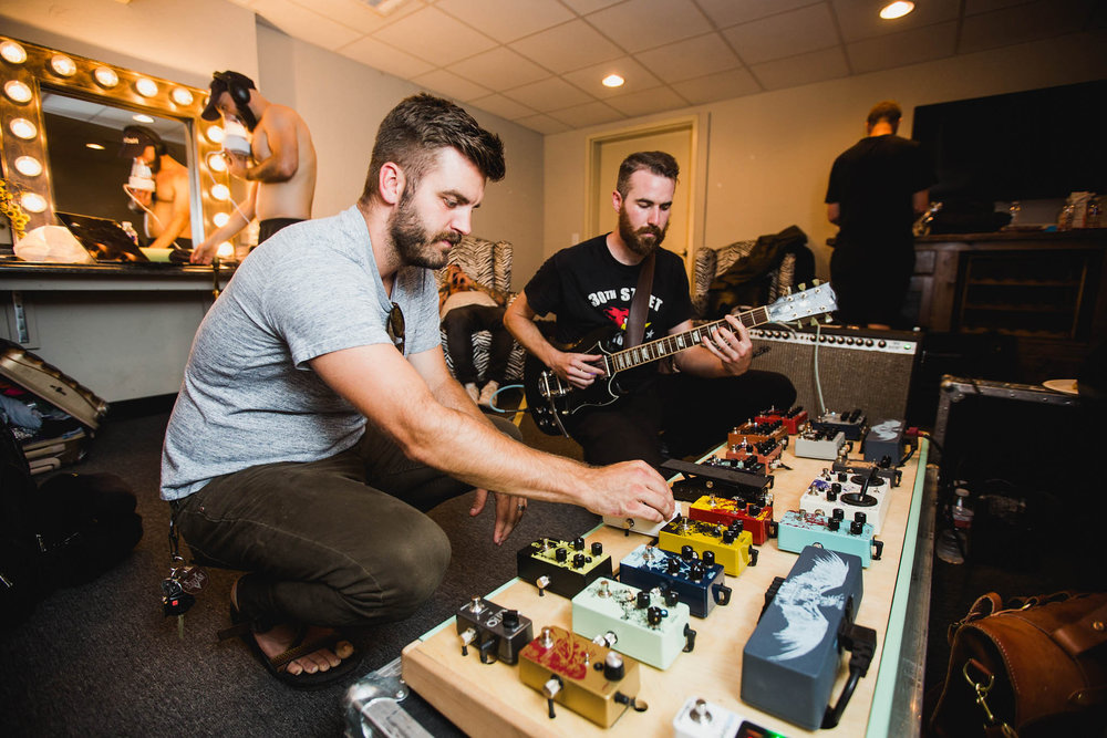 Jason Stulce from Walrus Audio and I going through some of their new pedals in Oklahoma City.  Photo: Anna Lee Media