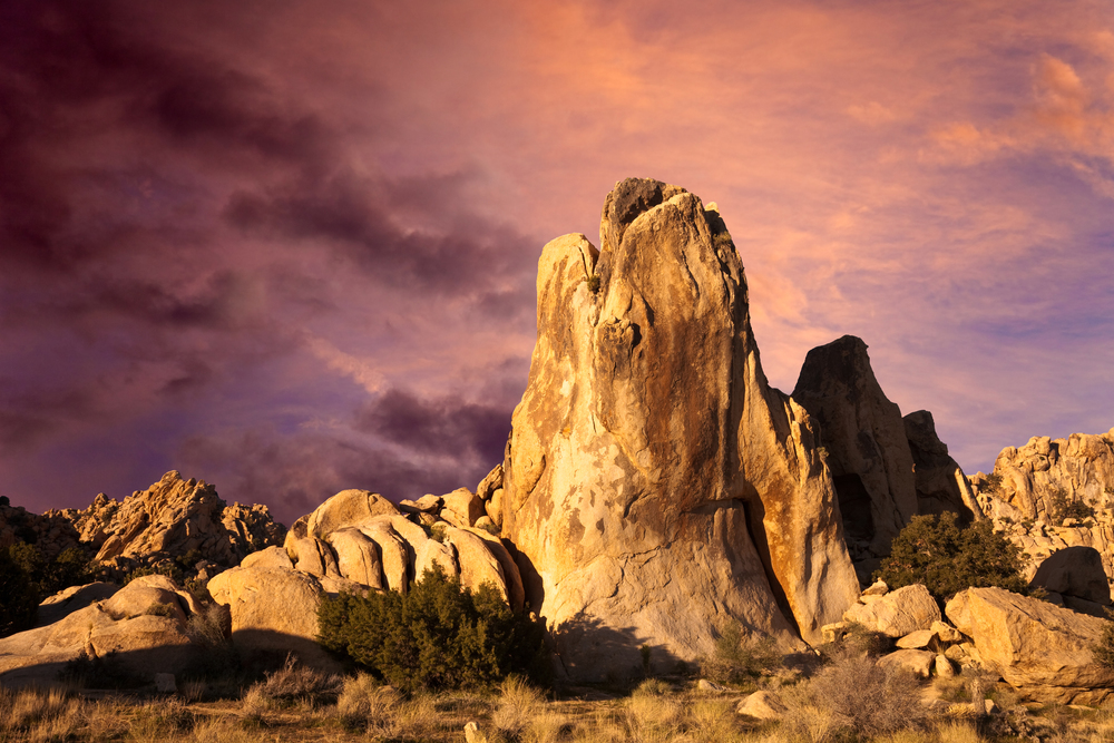 A Dramatic Sunrise Over Rock Formations In Joshua Tree National Park
