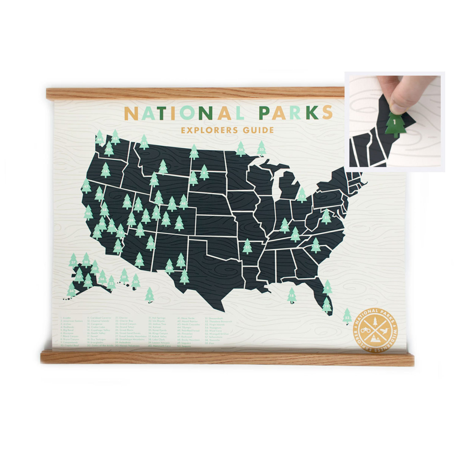 National Parks Map 18x24 - Official Explorers Guide Screen Print ...