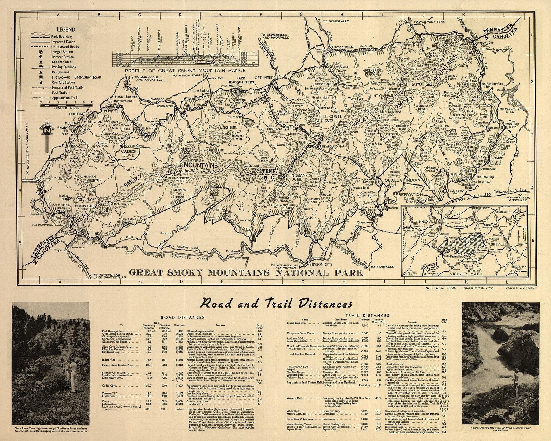 Great Smoky Mountains National Park Map Purple Moose Basics - 8x10 printable world map
