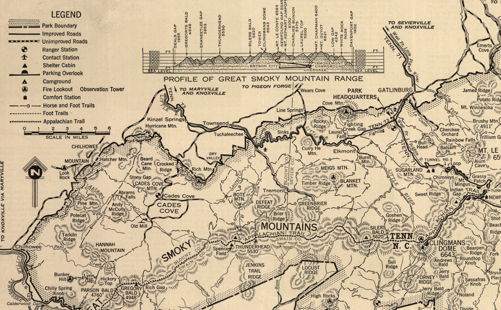 Great Smoky Mountains National Park Map 1941 Purple Moose Basics