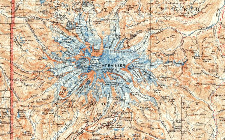 Mt Rainier Topographic Map.Mount Rainier National Park 1928 Usgs Topographical Map Purple