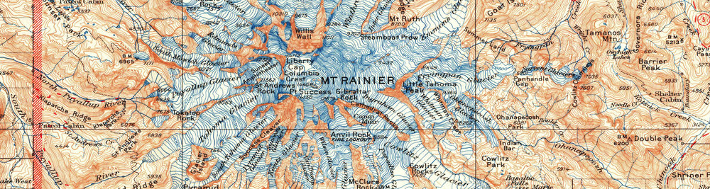Mount Rainier National Park 1928 USGS Topographical Map