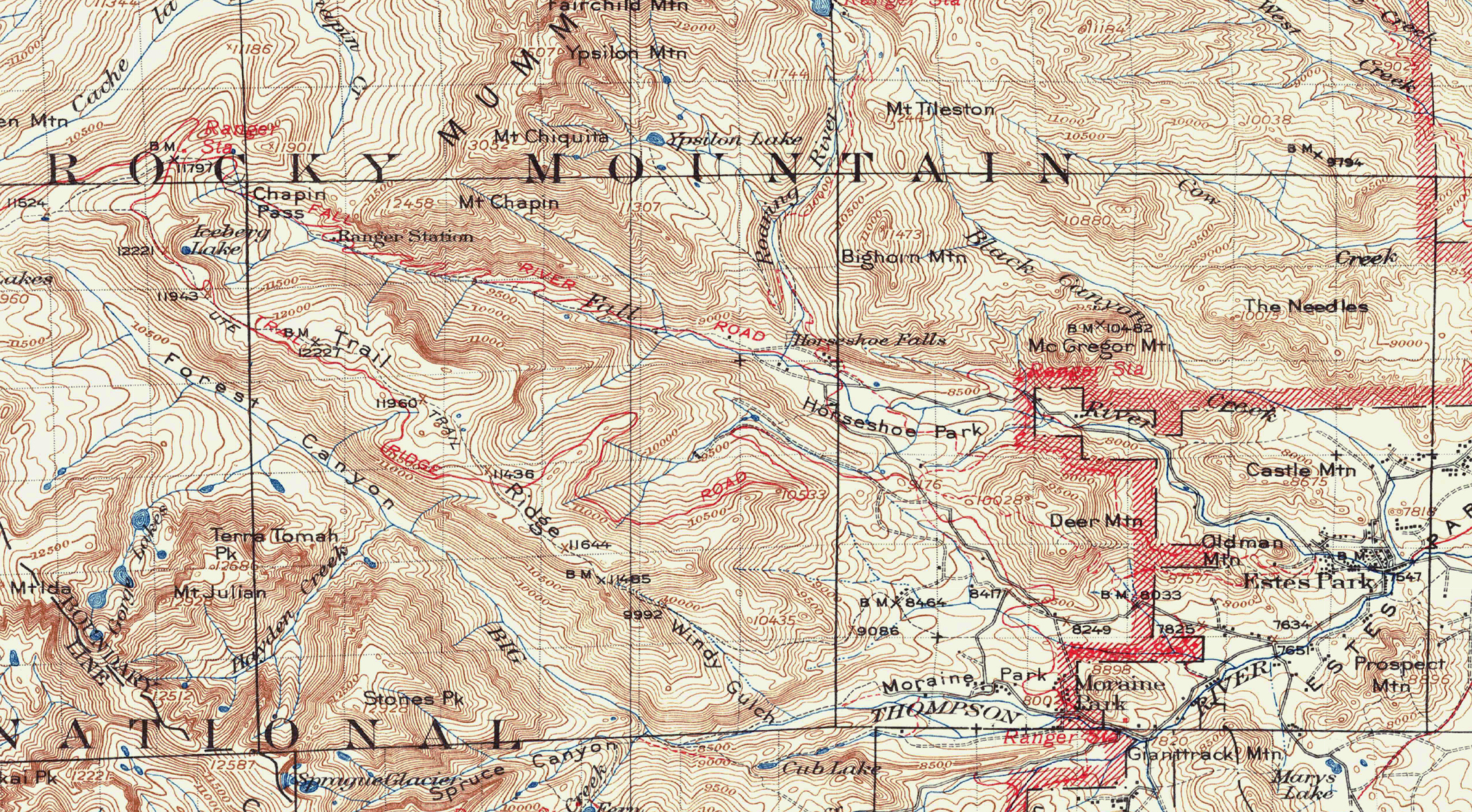 Rocky Mountain National Park 1915 USGS Topographical Map — Purple