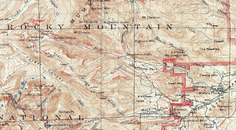 Yellowstone National Park Topographic Map.Rocky Mountain National Park 1915 Usgs Topographical Map Purple