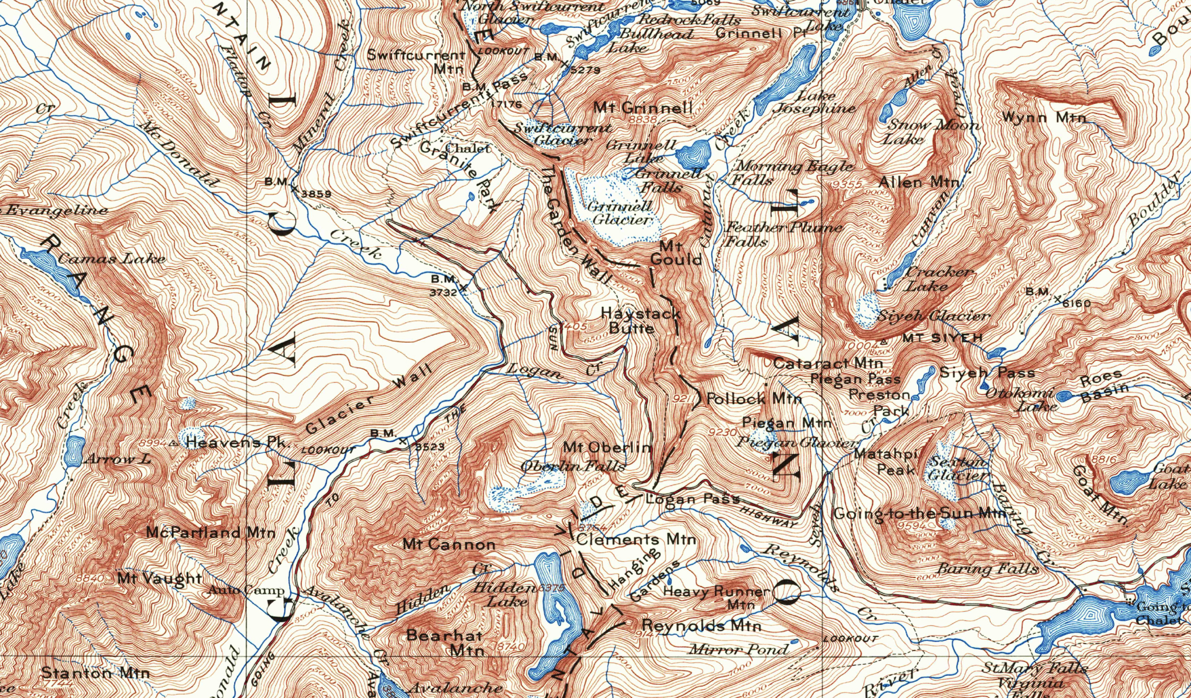 Glacier National Park 1938 USGS Topographical Map — Purple Moose ...