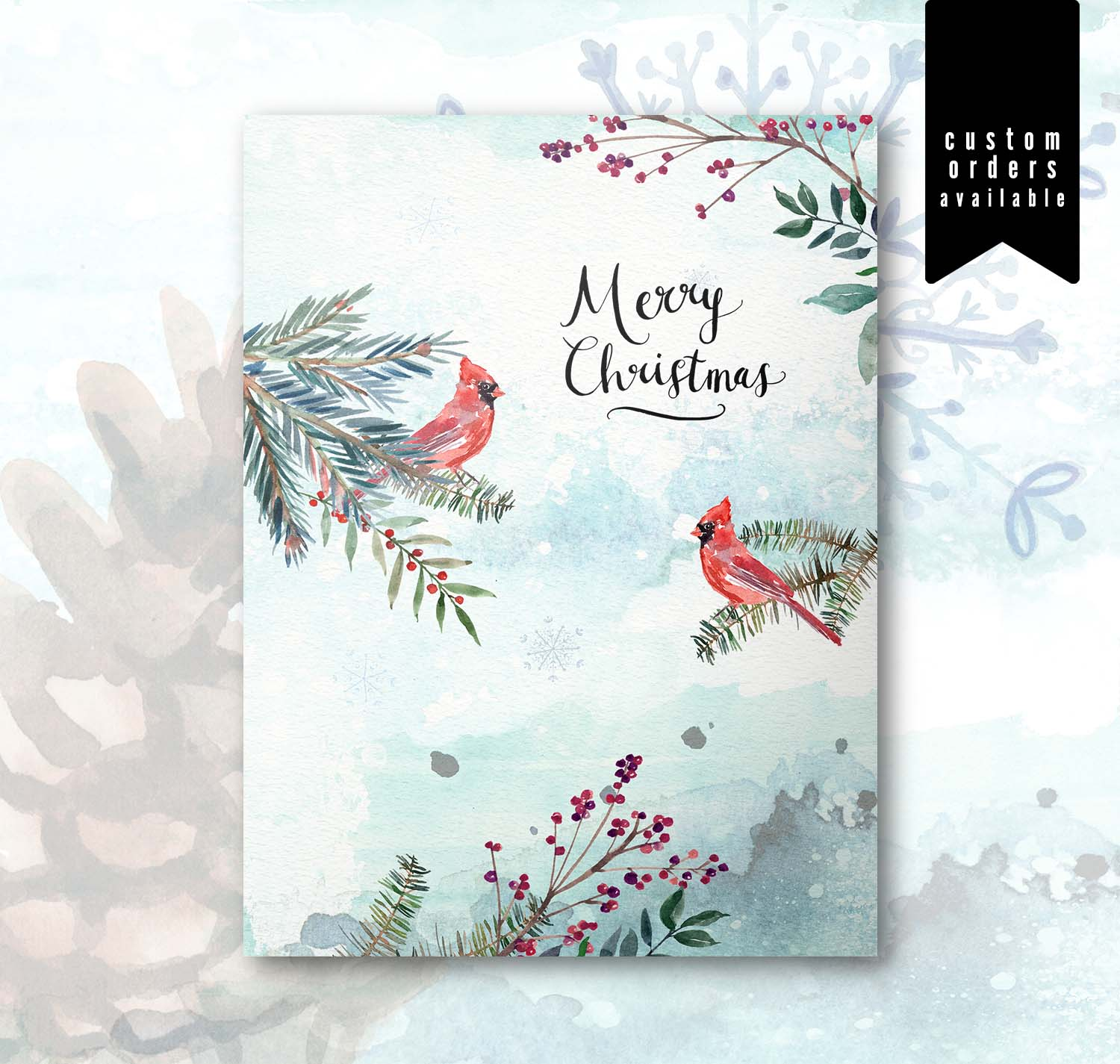 Watercolor Christmas Card Set | Merry Christmas Cardinal No. 2111 ...
