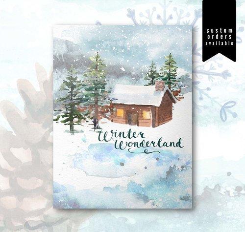 Watercolor Christmas Card Set Winter Wonderland Cabin No 2112