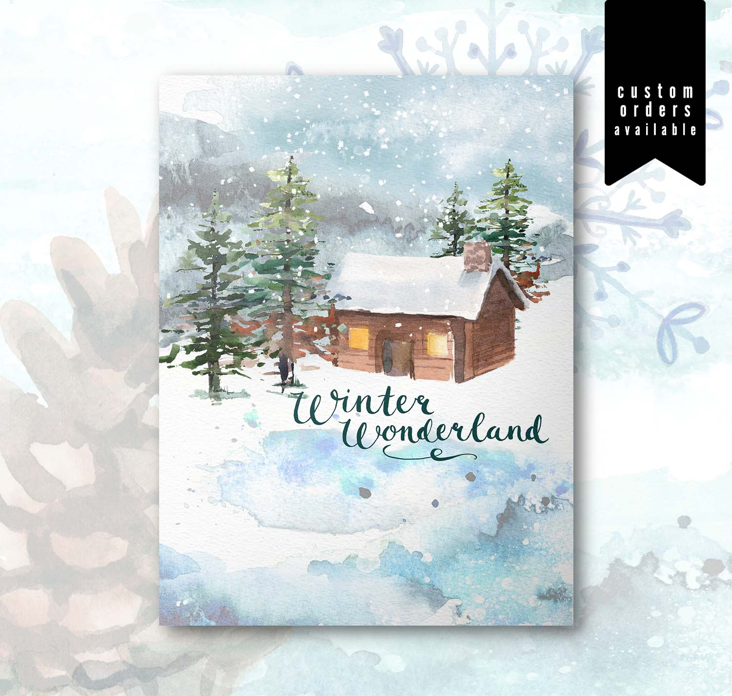 Watercolor Christmas Card Set | Winter Wonderland Cabin No. 2112 ...