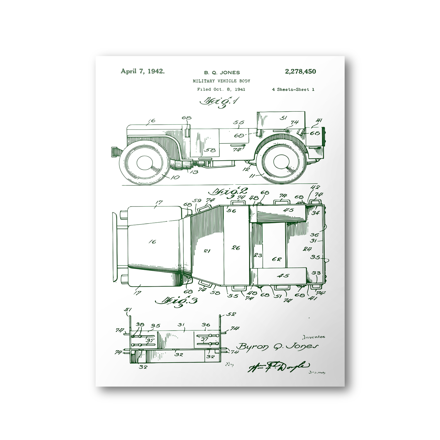 Jeep patent poster 1942 willys mb jeep patent art blueprint jeep patent poster 1942 willys mb jeep patent art blueprint patent print malvernweather Image collections