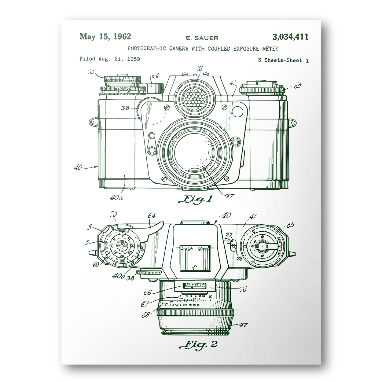 Camera patent poster 1962 camera patent art blueprint patent camera patent poster 1962 camera patent art blueprint patent print malvernweather Image collections