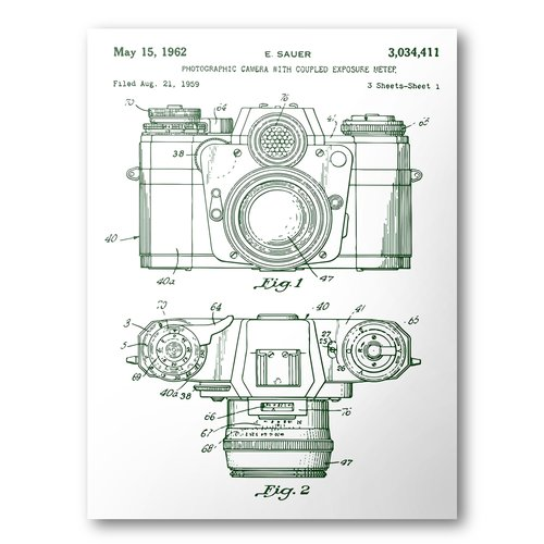Camera patent poster 1962 camera patent art blueprint patent camera patent poster 1962 camera patent art blueprint patent print malvernweather Images