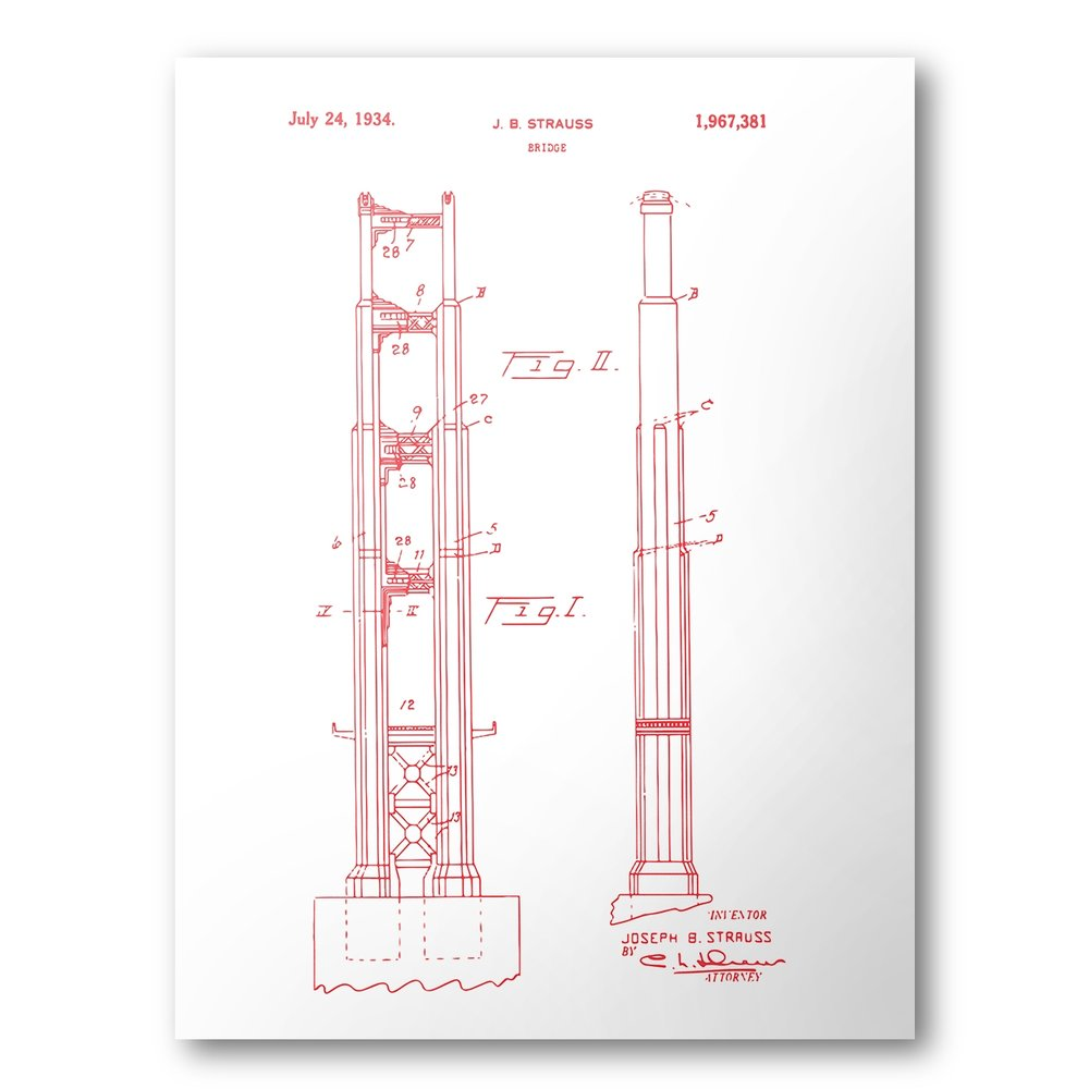 Charming Golden Gate Bridge Patent Poster | Golden Gate Patent Art | Blueprint Art |  Patent Wall Art | Bridge Patent Print | Patent Art | Home Decor