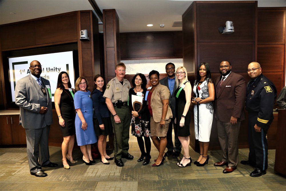 All awardees, nominees, and speakers. From left to right: Sargent Darrell Rocker, Cara Gilmore, The Child Protection Center (Lisa Mizell), American Public Square (Ashley BEard-Fosnow), Sheriff Darryl Forte, The Justice Project (Founder and EXECUTIVE Director Kris Wade), Rosilyn Temple, Congressman Emanuel Cleaver II, Brittany Strohm, Emcee Captain KAri Thompson, Pastor Branden Mims, Major Dan B. Haley.