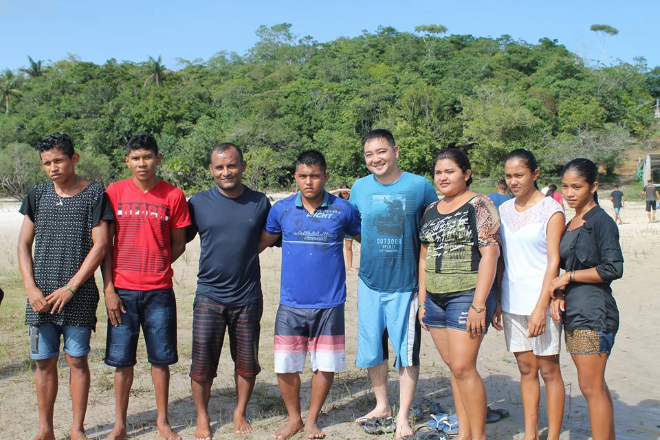 Recent baptism of six young people.