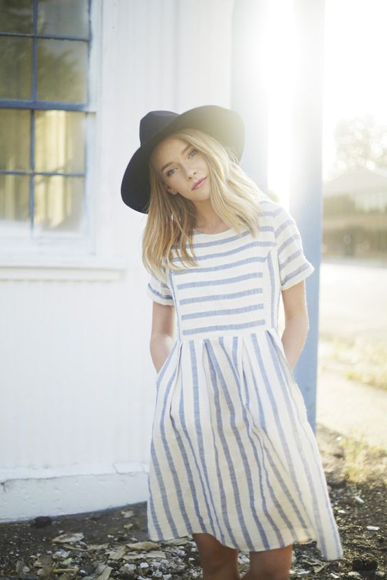 Neutral Striped Dress