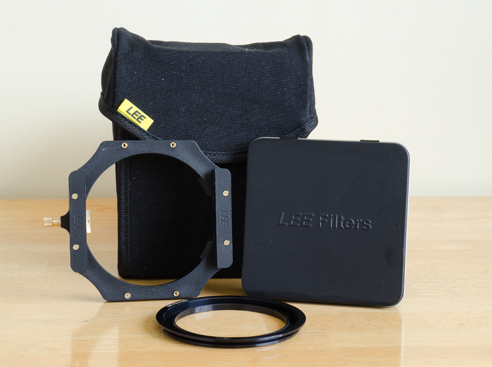 The Lee 100mm system. Featured here is the filter pouch, filter holder, 77mm wide-angle adapter ring, and the Lee Big Stopper. Graduated ND filters are to be purchased shortly.