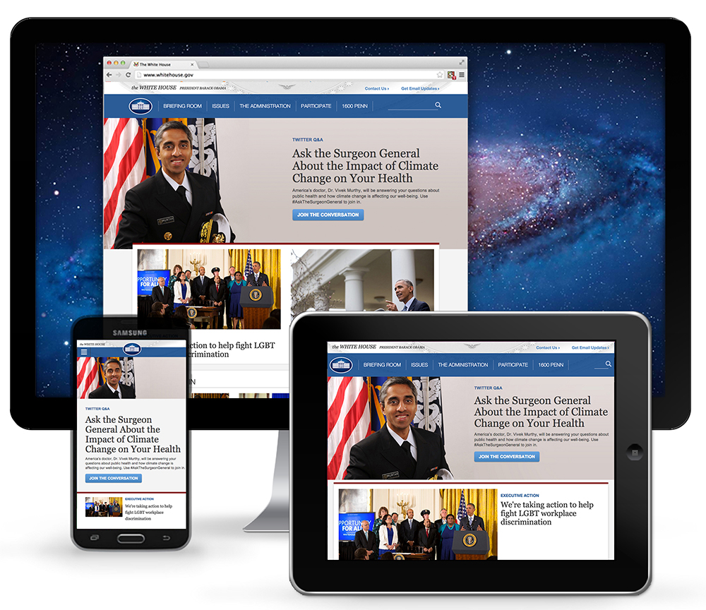 The White House homepage as seen on relaunch day. Promoting an online engagement with the U.S. Surgeon General, a new executive action fighting workplace discrimination against LGBT individuals, the U.S.-Iran nuclear agreement, and more.