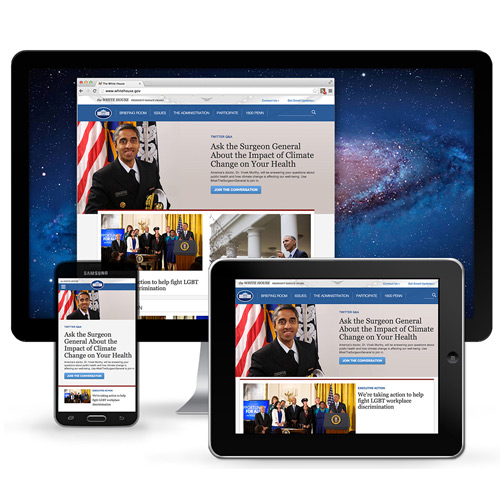 Homepage Redesign - Obama White HouseIn 2015, Ashleigh Axios designed the first responsive WhiteHouse.gov homepage, starting improvements across White House public-facing platforms.